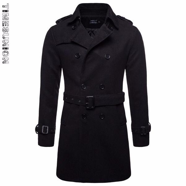 Осень зима тонкий шерстяное пальто мужская мода пояс дизайн мужчины отложным воротником длинный стиль ветровка двубортный пальто