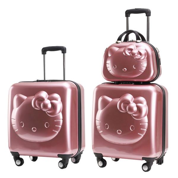 HOT! Hallo Kitty Schöne 2 TEILE / SATZ Kosmetiktasche Trolley Koffer frauen mädchen reise rollen gepäckverfassungskasten 18/20/24 zoll