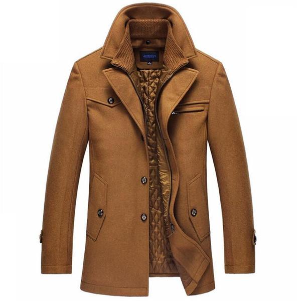 Trençkot Erkekler Kış Kalın Rüzgarlık Uzun Yün Palto Casaco Masculino Palto Casaco Jaket Erkek 4XL Siper Yün Ceketler T190829