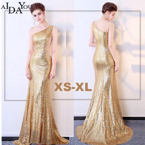 Compre Noche De Lujo Vestidos Dorados Elegante Mujeres Longitud Del Piso Con Lentejuelas Vestido Formal Formal Vestido De Un Hombro Ouc994 A
