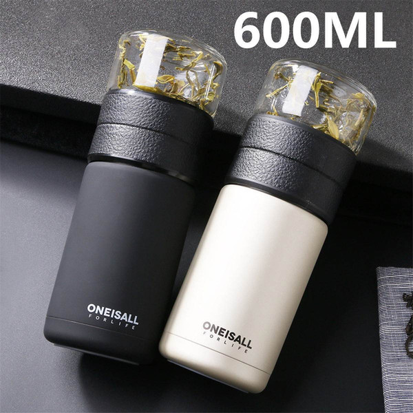 600ml Insulated Water Bottle Scrub Drinking Tea Coffee Cup Vacuum Flasks Vacuum Thermoses Bottle Drinkware Stainless Travel Mug Y19070303