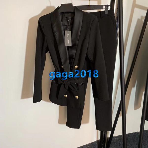 высокого класса женщин девушки брюки набор пиджак пиджак двубортный галстук талии платок воротник длинные рукава вершины пальто верхняя одежда прямые брюки костюм