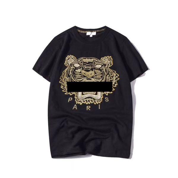 Лето дизайнер футболки мужские топы Тигр глава письмо Вышивка футболка мужская одежда Марка с коротким рукавом футболки женщины топы S-2XL