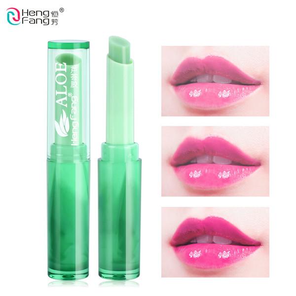 Hengfang aloe vera nourishes lipstick Temperature Change Color long lasting Moisturizer cosmetic green color 2018 New beauty Lip balm