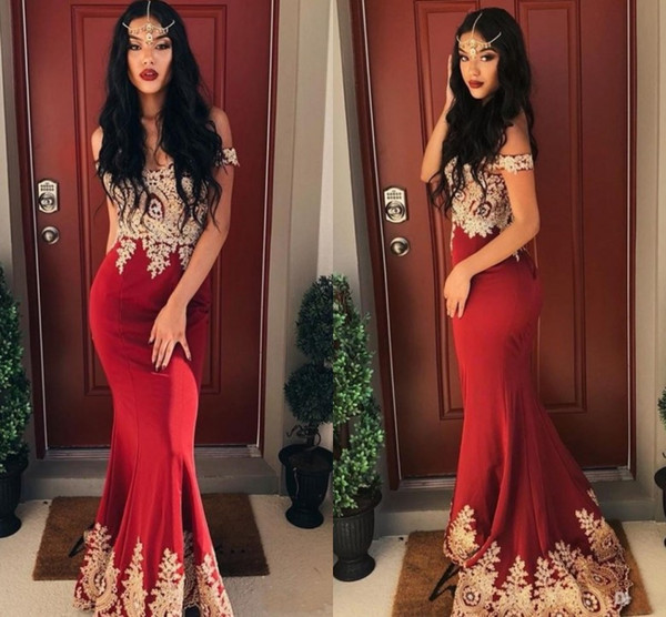 Sexy Dark Red Prom Dresses 2019 Mermaid Off the Shoulder Short Sleeve Lace Applique paolo sebastian Evening Dress Party Wear Sweep Train