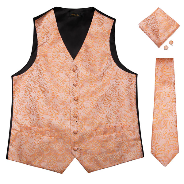 Hi-Tie New Designer Orange Floral Vests of Men Silk Men Vests Suit Party Business with Handkerchiefs Cufflinks Vests Tie MJTZ-0108