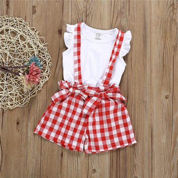 Yaz bebek kız çocuk giyim Seti çocuk giyim beyaz Yelek üst + kafes şort yaylar Tulum 2 adet setleri çocuklar giysi tasarımcısı kızlar