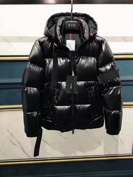 2019 Официальный новый продукт Марка мужчины женщины зимы вниз пальто сгущать вниз ветровки с капюшоном модели Пара вниз куртка черного цвета