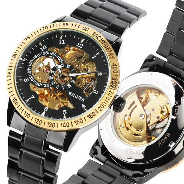 Unique Arabic Number Automatic Mechanical Watch for Men Fashion Watches for Man Stainless Steel Band Watch Gift Friends