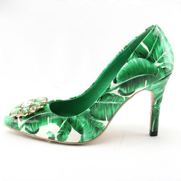 Women High Heels Green Pointed Toe Printed Stiletto Heel