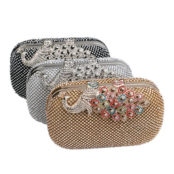 Peacock Metal Rhinestons Evening Bags Crystal Lady Small Clutch Shoulder Chain Messenger Bags Fashion Female Wedding Party Purse #467974