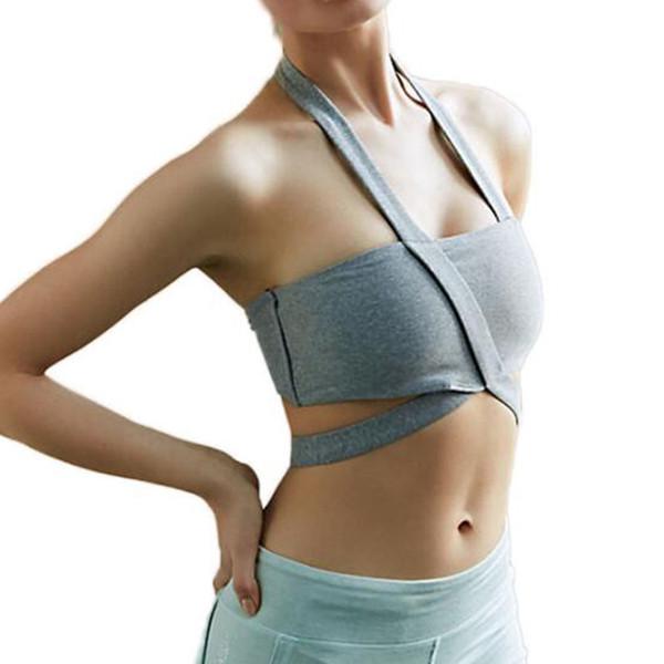 Sujetador deportivo sin costuras femenino Sujetador con relleno Push Up Sujetador de algodón Spandex Ropa interior de mujer Yoga Estiramiento y ejercicio deportivo Gris Tops