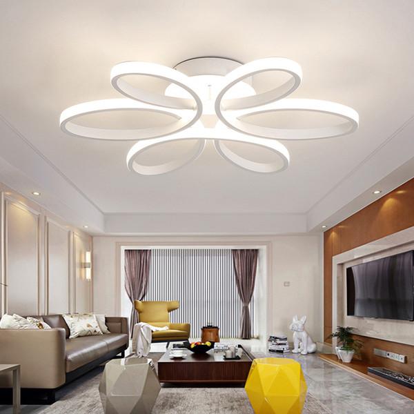 Moderne LED Plafonniers Télécommande pour Salon Chambre Chandeliers 72W En Aluminium boby plafond intérieur Lampe encastré montage led lumières