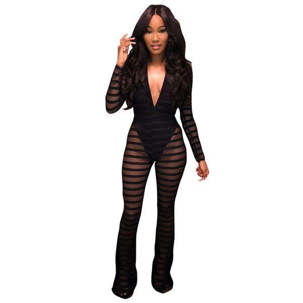 Damen Sexy Enge Mesh Spitze Tiefem V-Ausschnitt Langarm Party Clubwear Verband Strampler Overall (Schwarz) Größe (S-XL)