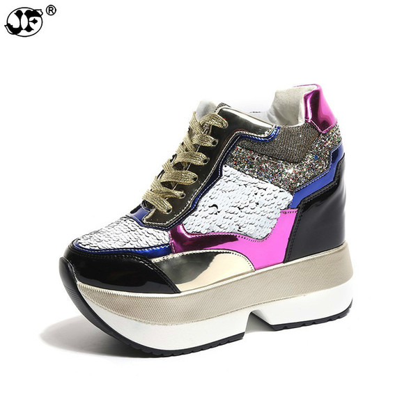 2018 New Woman Spring Wedge Boots PU Leather Harajuku Shoes Colorful Bling Winter Ankle Boots 12CM High-Heeled Platform Sneakers