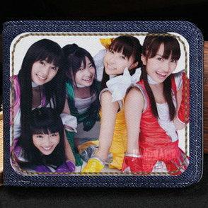 Momoiro Clover Z wallet Takagi Reni group purse Pop star short cash note case Money notecase Leather jean burse bag Card holders