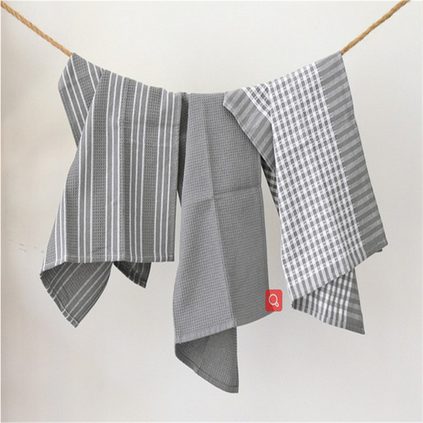 best selling 4565cm new printed waffle tea towels kitchen napkins 100 cotton cloth placemats cloth