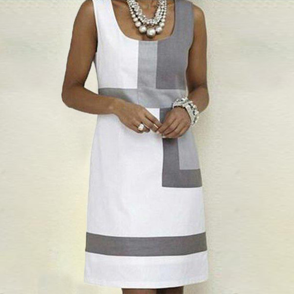 Dress 2019 Fashion Women Casual Shift Geometric Print Dress O-Neck Sleeveless Mini Dresses