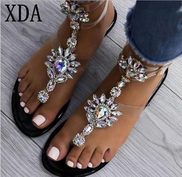 XDA Size 35-43 Bohemian Summer Women Sandals Gladiator Roman Strappy rhinestone Woman shoes Transparent tape Flat sandals A410