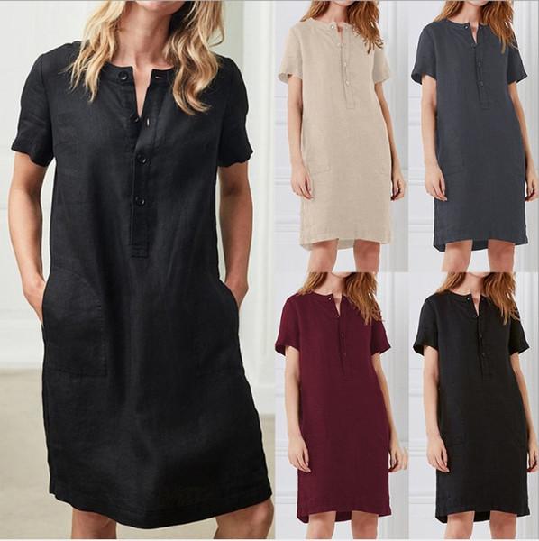 Fashion Women Summer A shape Dress Solid Color Single Breasted dresses Short Sleeve Medium Long Female Vestidos