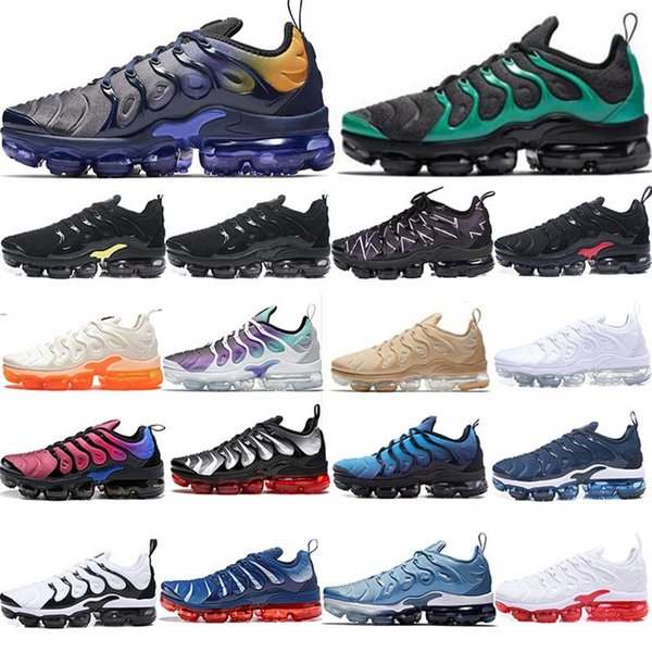 Nike 2018 Air Vapormax TN Plus Kutu ile Yeni Gelenler YENI buharlar TN Artı Zeytin Beyaz Gümüş Colorways koşu tns Için Ayakkabı Erkek Ayakkabı Paketi Üçlü Siyah Erkek Ayakkabı