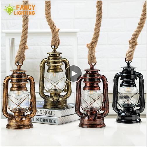 Lampade a sospensione in cherosene vintage con lampada a sospensione a corda in canapa E27 per casa / camera da letto / soggiorno Lampada a sospensione industriale