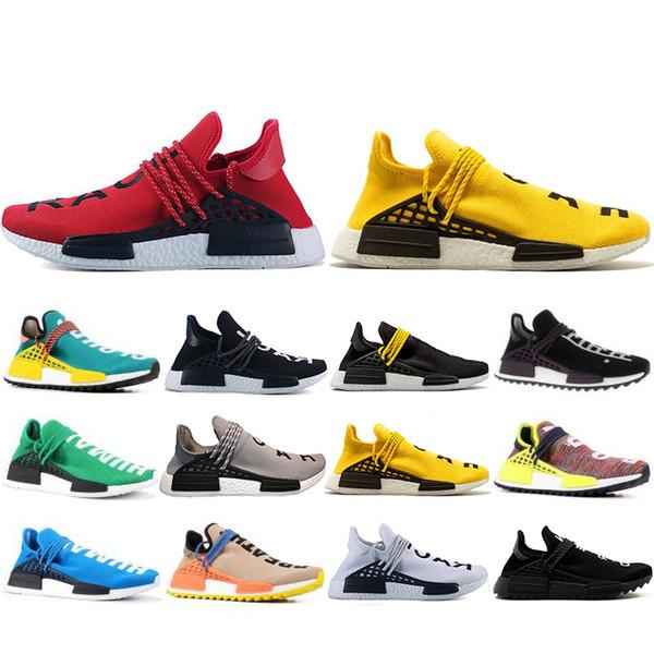 New Classic Human Race Hu trail pharrell williams Running shoes Men Nerd black cream mens trainer women designer sports sneakers US 5-12