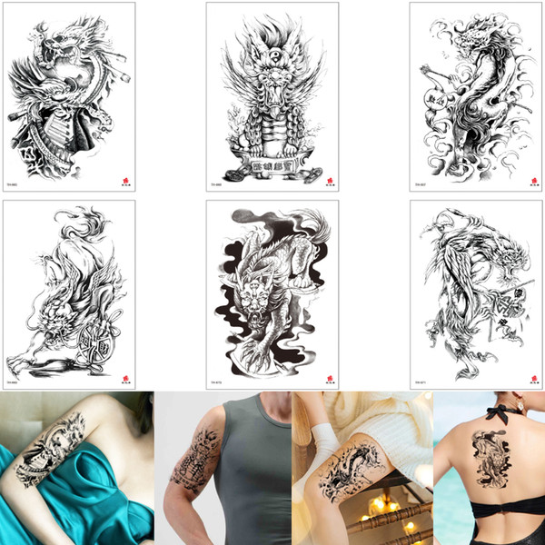 Fake Black Cool Dragon Kylin 3D Tattoo Temporary Body Art Sticker Skin Scar Cover Design for Boy Girl Arm Sleeve Shoulder Tattoos Waterproof