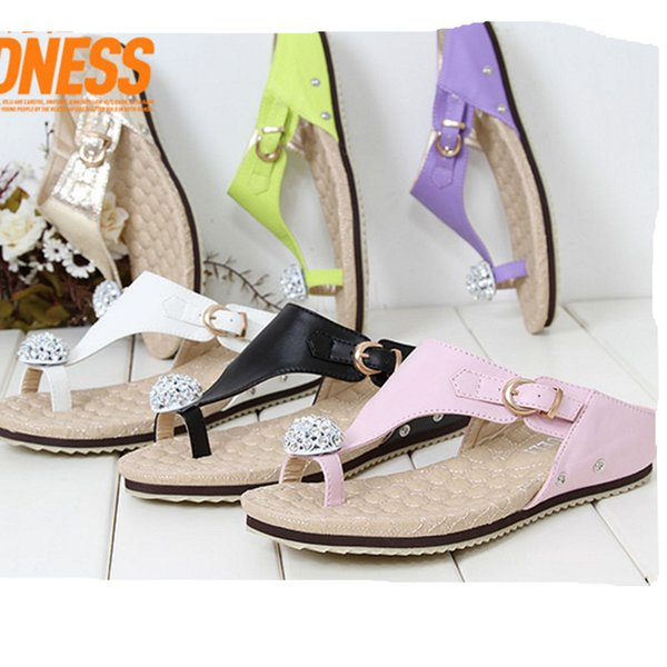 Luxury Women Summer Shoes Flat Slippers 2019 Rhinestone Ladies Leather Sandals Slippers Shoes Woman Flip Flops Zapatos Mujer