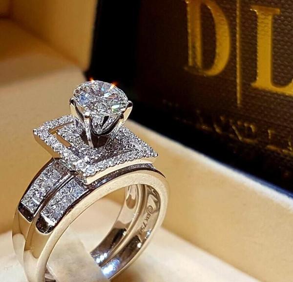 2019 Mais Novo Cristal Zircon Wedding Ring Set Moda Pedra Grande Anel de Dedo Promessa Anéis De Noivado de Noivado Para As Mulheres