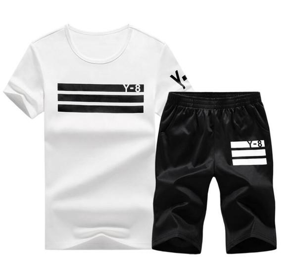 Nuevo 2019 Marca Chándal hombre camiseta + Shorts Conjuntos Hombres Ropa deportiva Conjuntos Gimnasios al aire libre Traje deportivo Malechandal hombre streetwear