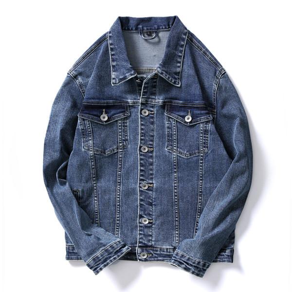 Outerwear Windbreaker Jackets Mens Denim Biker Jacket Casual Coats Slim Fit Tops Overcoat Plus Size 2019 High Quality Blue