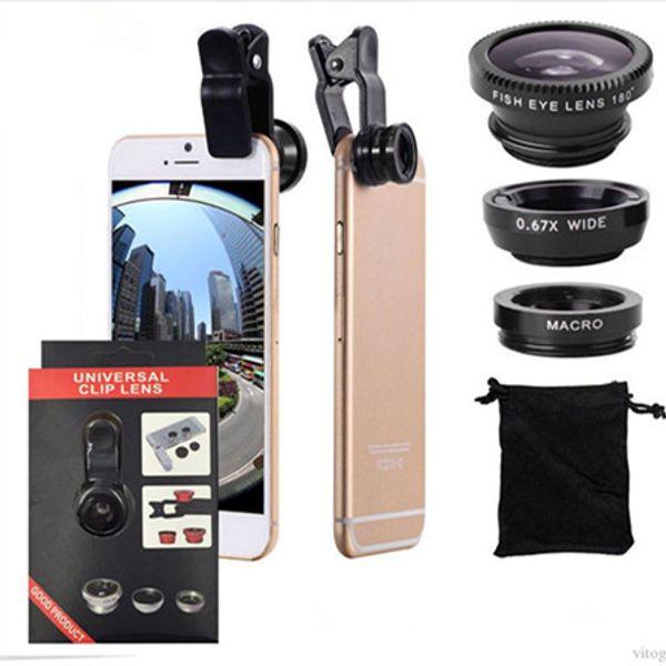 Lente de cámara 3 en 1 con clip de metal universal, ojo de pez, macro + gran angular para iPhone 7 Samsung Galaxy S8 con paquete minorista