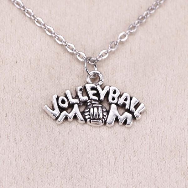 New Fashion Tibetan Silver Pendant volleyball mom 13*23mm Choker Charm Short Long DIY Necklace Factory Price Handmade Jewelry
