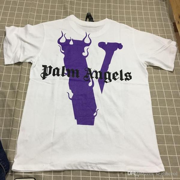 19SS Vente Chaude Nouveau Pur Coton Grand V Palm Angels T-shirt Confortable En Vrac Type Grand V Retour Imprimer Ami T-shirt Blanc