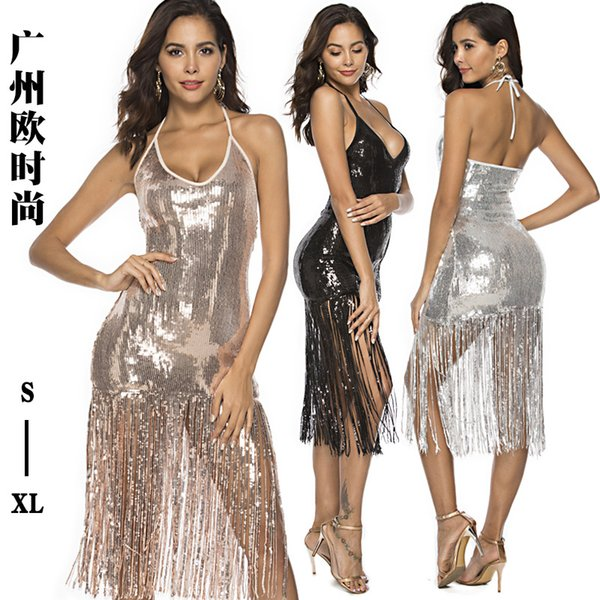Explosion-colored cross-border European and American women's fringe sequins sexy nightclub bag hip skirt dress