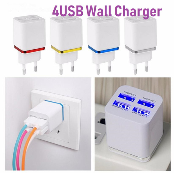 Universal Gold rim Charger Plating 4USB Phone Charger 2.1A Metal Smart Travel Fast Charging Charger For Samsung Galaxy Note,HTC One M9,HTC
