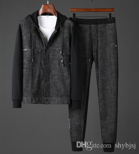 19AW de lujo del diseño de marca del vaquero completo FF Negro Imprimir chándal y pantalones Establece los pantalones al aire libre de Calle Sudaderas largos y abrigo