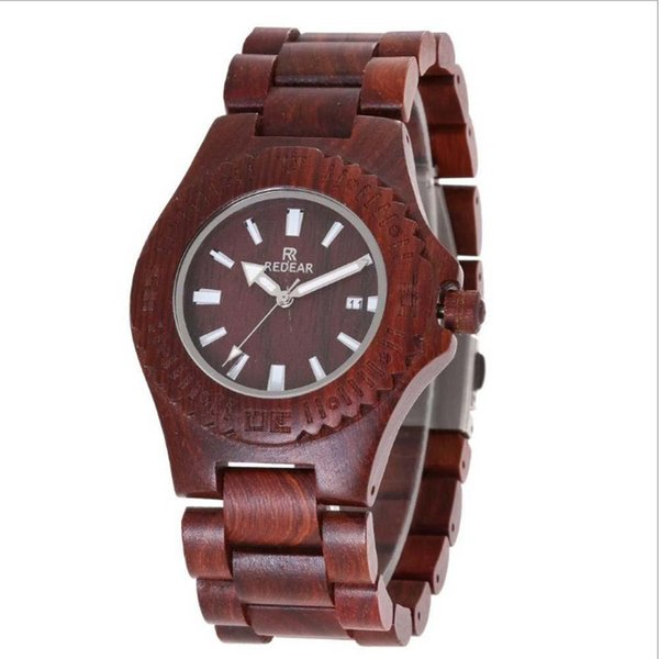 New hot classic wooden watch Water ghost design men's personality retro watch sandalwood quartz watch free shipping