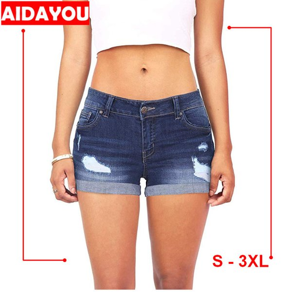 Denim-Shorts für Body Enhancing Womens Juniors - Shorts mit mittlerer Taille und Ärmeln mit Manschettensaum. Push Up Butt Lifting Ouc404