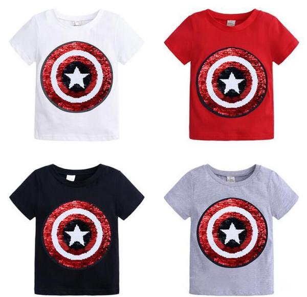 baby kids designer clothing t shirt round collar short sleeve paillette Change Color Design T shirt 1-8T