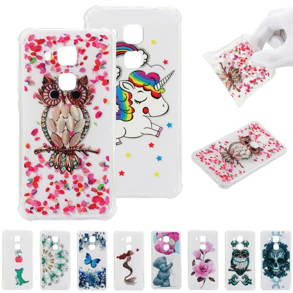 Soft pattern Clear Slim Fit TPU Back Case For Huawei P smart Huawei Nova 3e Air Cushion Shockproof Crystal Bumper