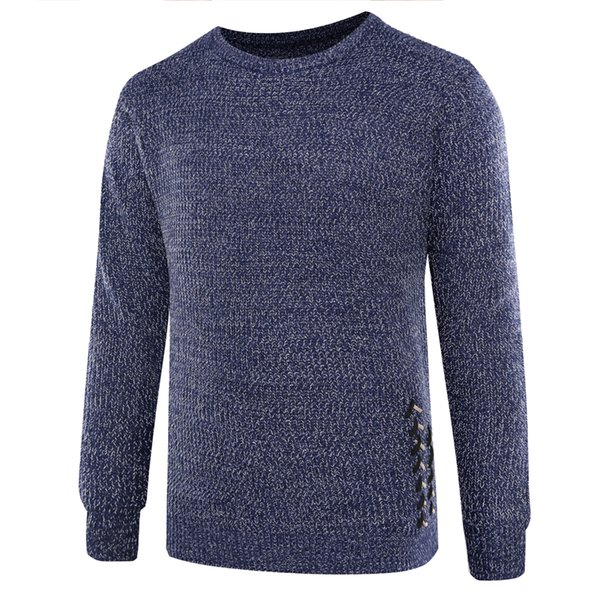 2019 new men's thermal knitwear slim fit men's round neck sweater thumbnail