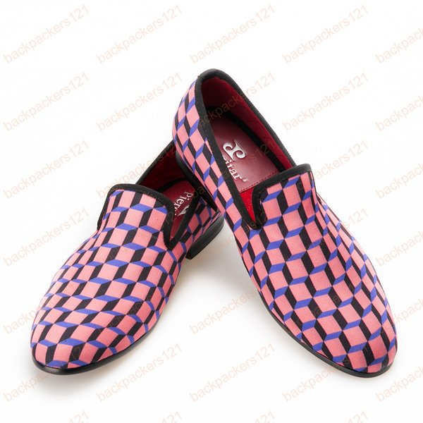 New Arrival men dress shoe Multi-Colors 3D Print Check Men's Casual Canvas Shoes Loafer For Daily Wedding and Party