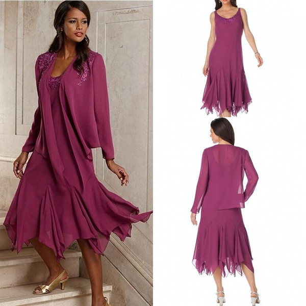 Plus Size Vintage Chiffon Scoop A-Line Mothers Dresses with Jacket Plus Size Custom Made Evening Gowns Mother of The Bride Groom Dresses