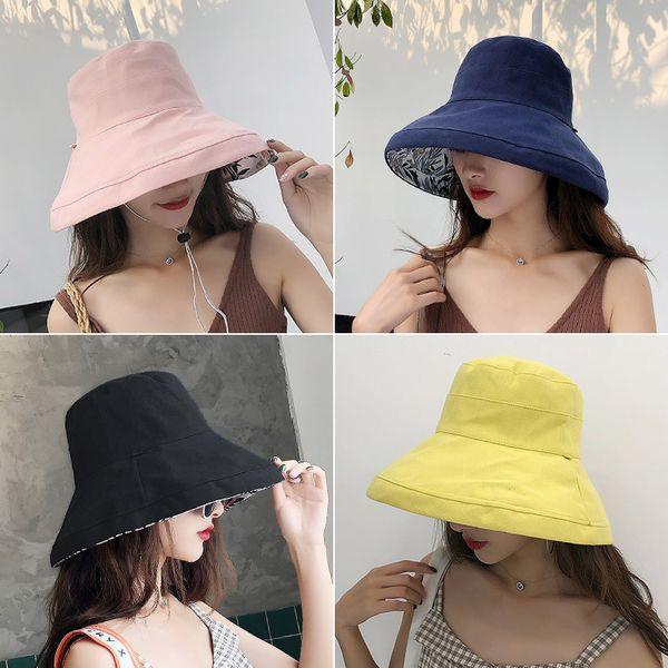 2019 anti-UV wide Brim cotton linen sun hat vacation summer bucket hat large brim korean foldable beach hat for women