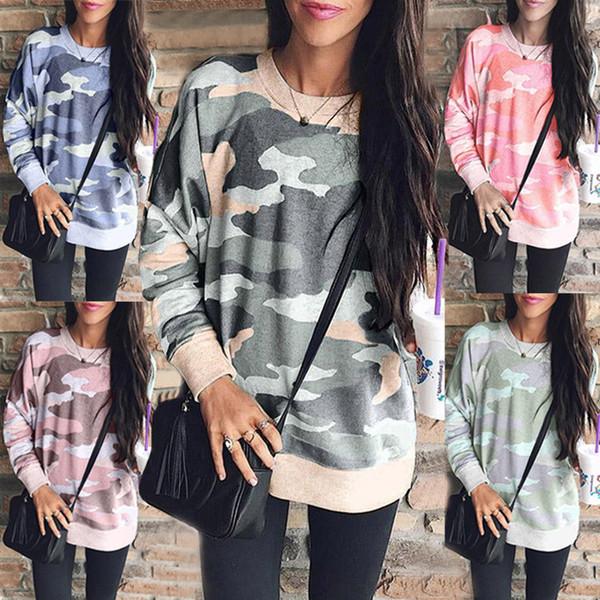 Nueva llegada 2019 Otoño Invierno camiseta de mujer estampado de moda cuello redondo manga larga blusa de camuflaje ropa mujer 6211