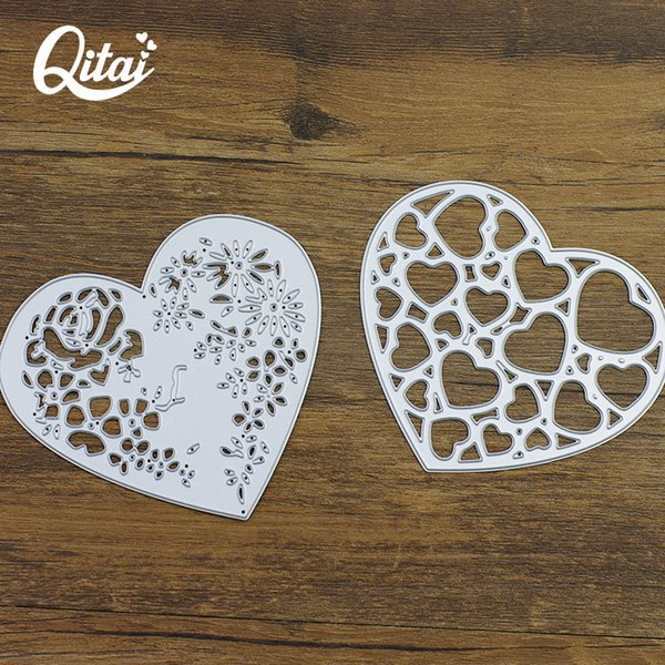 wholesale 2pcs/pack Metal Steel Heart Cutting Dies Stencils For DIY Knife Mould Scrapbooking Card Photo Album Decoration Craft D132