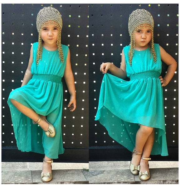 2019 Ins New cute pure color Girls fashion Children's dress In the summer hot-sale products Green white colour princess dress