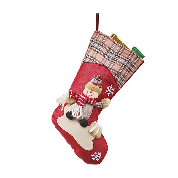 Cloth Home Cute Supplies Christmas Stocking Party Hanging Ornaments Cartoon Pendant Soft Candy Gift Bag Small Tree Decoration